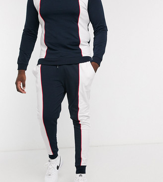 ASOS DESIGN Plus co-ord super skinny joggers in retro sport colour block with piping