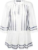 Alberta Ferretti lace trim striped blouse - women - Silk/Cotton/other fibers - 42
