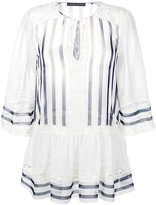 Alberta Ferretti lace trim striped blouse