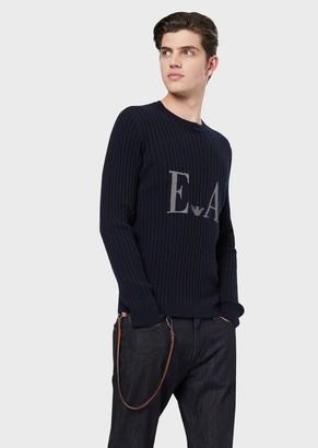 Emporio Armani Pure Cashmere Sweater With Jacquard Logo