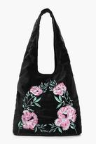 Boohoo Matilda Velvet Embroidered Hobo Bag black