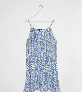 Noisy May Curve midi cami dress in blue spliced print