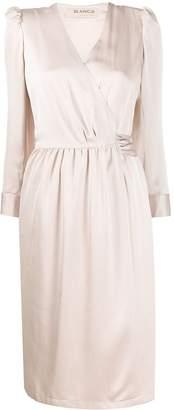 Blanca Vita long-sleeved satin wrap dress