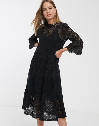 Vero Moda lace midi dress with high neck in black
