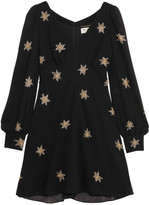Saint Laurent Embellished Silk-georgette Mini Dress - Black
