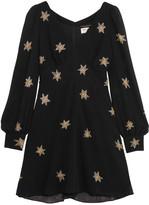 Saint Laurent Embellished Silk-georgette Mini Dress - Black