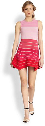 Torn By Ronny Kobo Aubrey Colorblock Sheer-Striped Bandage Dress