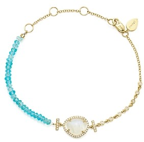 Meira T 14K Yellow Gold Rainbow Moonstone, Diamond and Neon Apatite Beaded Bracelet