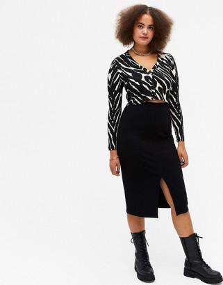 Monki Dolly midi skirt with split side in black