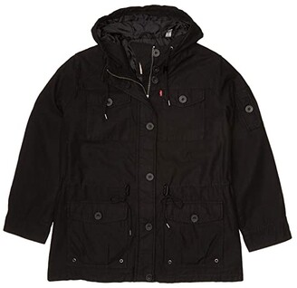 Levi's Plus Size Hooded Cotton Military Parka Jacket (Black) Women's Clothing