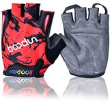 BOODUN Kids Semi Finger Gloves Cycling with Shock-absorbing Gel Pad Breathable Half Finger Skating Bicycle Bike Training Gloves - Classic, Red