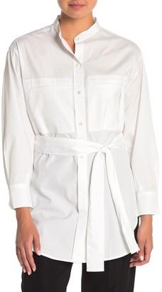 Vince Mandarin Collar Belted Tunic