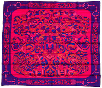 One Kings Lane Vintage Hermes Folklore Shawl - D'Origny - Vintage Lux - purple/pink