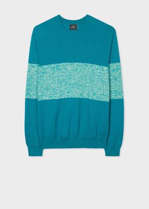 Paul Smith Men's Petrol Blue Front Stripe Cotton-Blend Sweater
