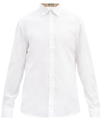 Burberry Sherwood Checked-trim Cotton-blend Poplin Shirt - White
