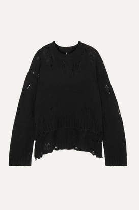 R 13 Oversized Distressed Cashmere Sweater - Black
