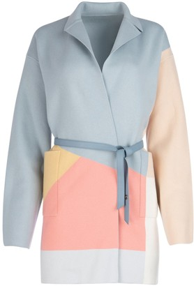 Loro Piana Belted Colour Block Wrap Coat