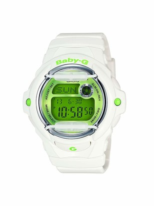Casio Women's Baby G Quartz 200M WR Shock Resistant Resin Color: White with Green Face (Model BG-169R-7C)