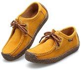 L-RUN Women's Girls' Casual Comfortable Flat Suede Shoes Sneakers