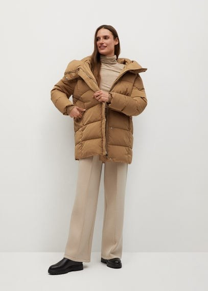 MANGO Feather down hooded coat