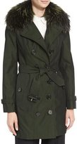 Burberry The Sandringham - Mid-Length Slim Fit Heritage Trenchcoat w/Fur Collar