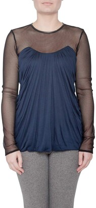 Yigal Azrouel Navy Blue Jersey and Sheer Mesh Detail Long Sleeve Top M