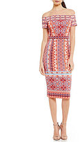 Maggy London Off-The-Shoulder Printed Scuba Midi Dress