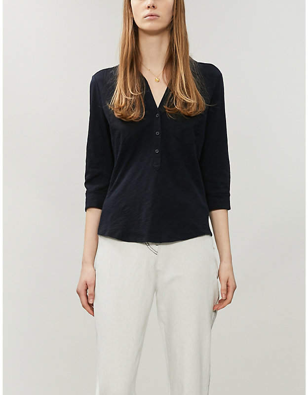 The White Company Cropped-sleeve cotton-jersey shirt
