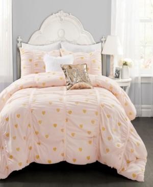 Lush Decor Metallic Heart Print 3-Piece Full/Queen Comforter Set Bedding