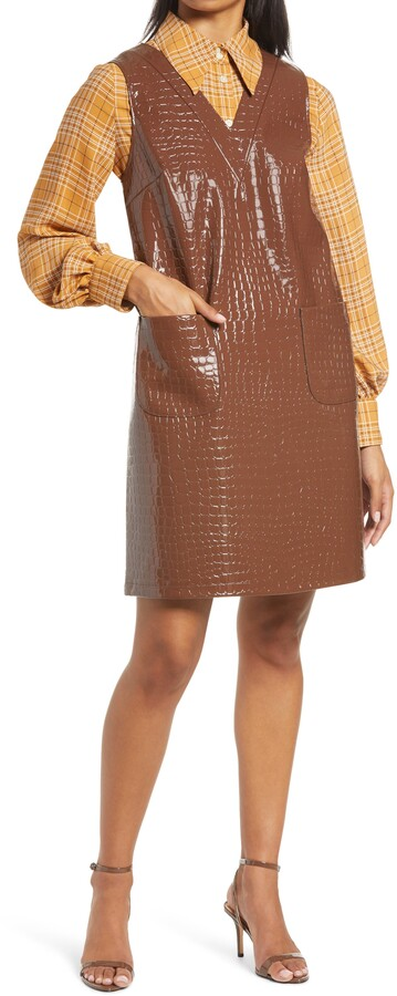 Halogen x Atlantic-Pacific Croc Embossed Faux Leather Shift Dress