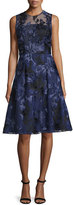 David Meister Sleeveless Beaded Floral Jacquard Dress, Navy