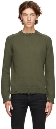 Saint Laurent Khaki Destroyed Sweater