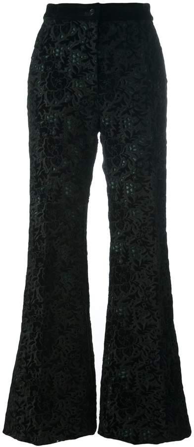 Rochas embroidered velvet trousers
