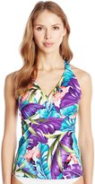 Caribbean Joe Women's Luxe Leaves H-Back Halter Tankini