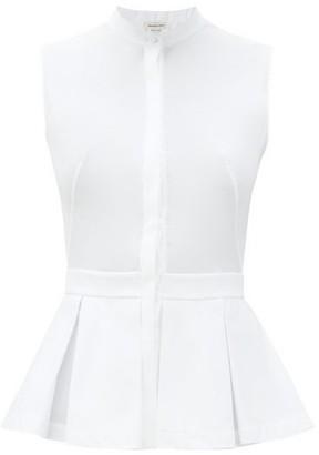 Alexander McQueen Pleated Peplum-hem Cotton-poplin Top - White
