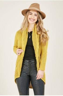 Yumi Mustard Cable Knitted Longline Cardigan