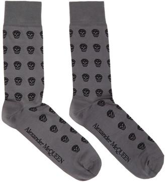 Alexander McQueen Grey and Black Skull Socks