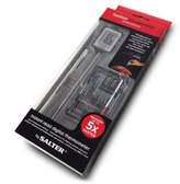 Salter Heston Blumenthal Digital Meat Thermometer by Salter, Instant Read Food Probe for Kitchen, Cooking, BBQ, Within 0.1 Degree Precision, Incl. Battery, Case, Pocket Clip + Ideal Temperature Card - Silver
