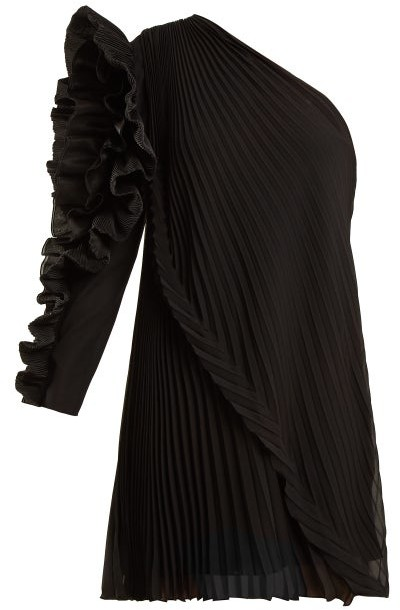 Givenchy One Shoulder Pleated Silk Georgette Dress - Womens - Black
