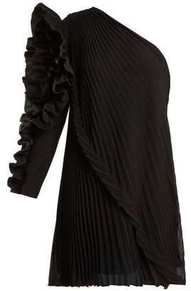 Givenchy One-shoulder Pleated Silk-georgette Dress - Black