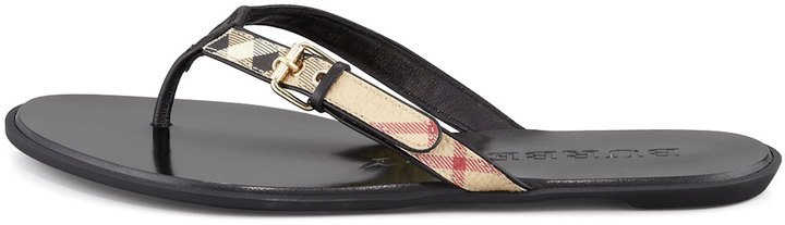 Burberry Check Leather Flip-Flop, Black