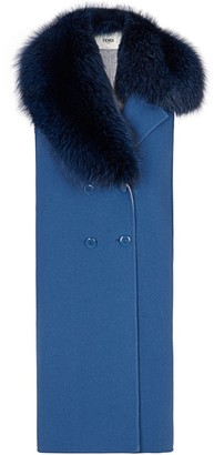Fendi Fox Fur-Trimmed Wool Gilet