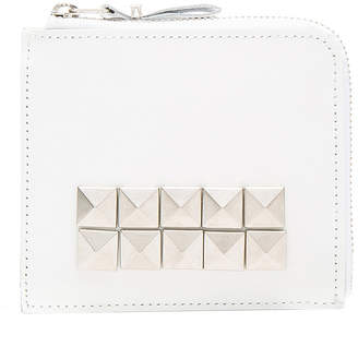 Comme des Garcons Studded Leather Zip Wallet in White | FWRD