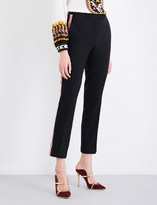 Etro Ribbon-trim straight cropped mid-rise wool trousers
