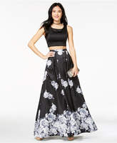 Sequin Hearts Juniors' Printed-Skirt 2-Pc. Gown, a Macy's Exclusive Style