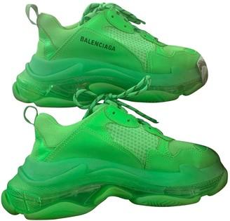 Balenciaga Triple S Green Cloth Trainers