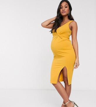 Asos DESIGN Maternity sleeveless twist detail midi dress in scuba crepe