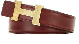 Hermes Gold Constance Guilloche Mini Buckle & Rouge H Leather Reversible Belt 80