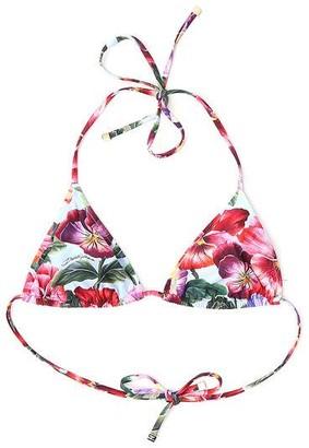 Dolce & Gabbana Floral Printed Triangle Bikini Top