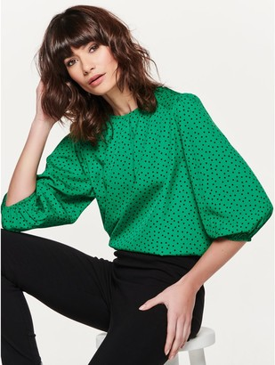 M&Co Spot print puff sleeve top